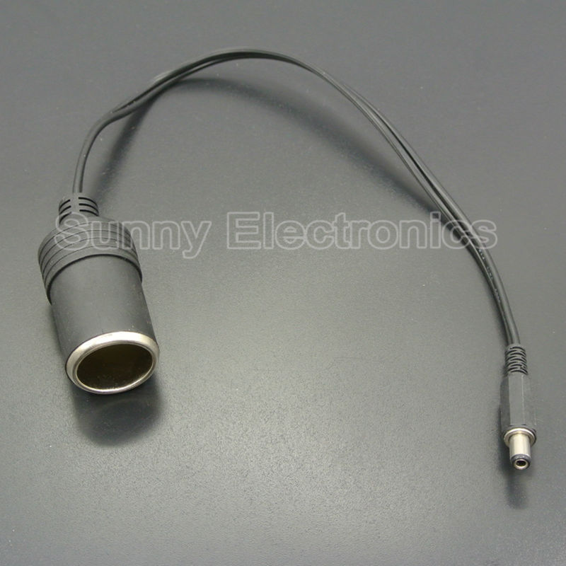High Quality 12V Female Car Cigarette Lighter Socket Plug Connector Charger Cable Adapter DC 5.5 * 2.1mm 5A Amper