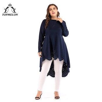 TOPMELON الأزياء مسلم اللباس قميص زائد حجم بلوزة فساتين البحرية كم طويل الرباط الحجاب اللباس XL-5XL 1