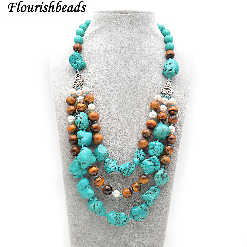 Woman Jewelry Necklace 5 Row 8mm Round Bead Turquoise Choker Necklace Fashion