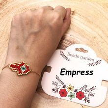 FAIRYWOO Woman Charm Ethnic Bracelets Luck Red Palm Eye Handmade Crystal Imported Glass Miyuki Bead Adjustable Chain