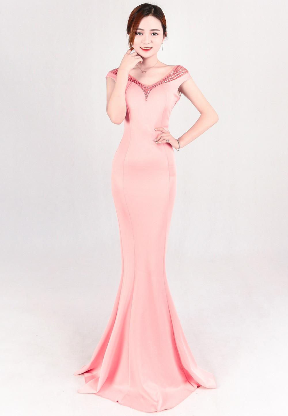 2018 New Crystal Party Dresses Pink Women Maxi Dess Deep V Backless Sleeveless Bodycon Mermaid Elagant Ladies Wedding Vestidos