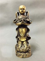 9.4 In High brass handmade Antique Chinese Taoism pure copper statue of girl