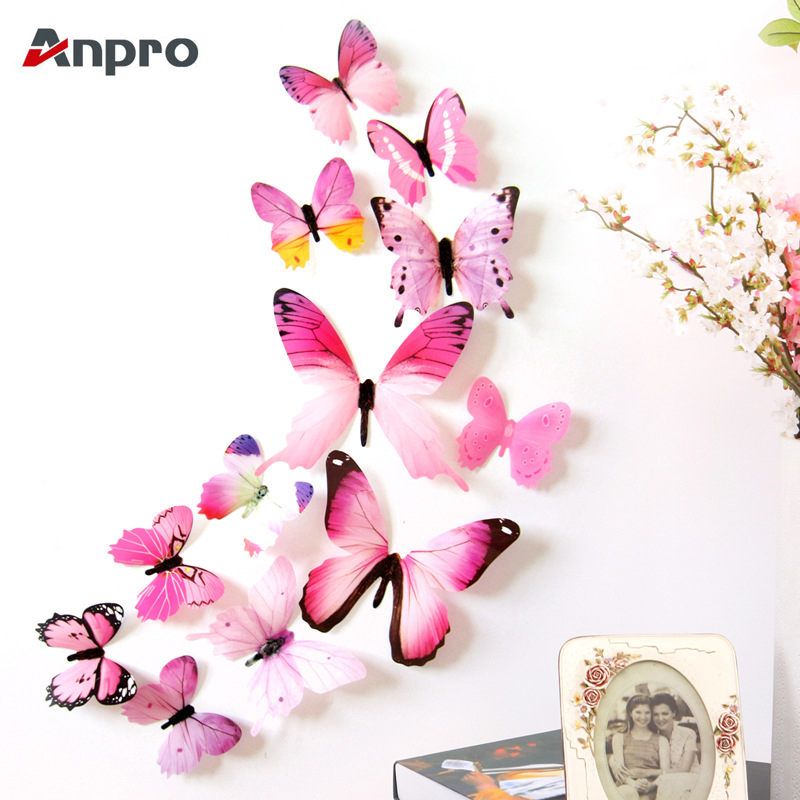 Anpro 12 Pcs/Lot 3D Butterfly Rainbow Wall Stickers Fridge Decal Art Colorful Wallpaper for Living Room TV Background Home Decor(China)