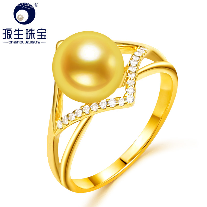 YS 925 Sterling Silver Rings Jewelly For Women 8 9mm Natural Cultured Saltwater Pearl Ring