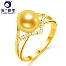 [YS] 925 Sterling Zilveren Ringen Jewelly Voor Vrouwen 8 9mm Natuurlijke Gekweekte Zoutwater Parel Ring