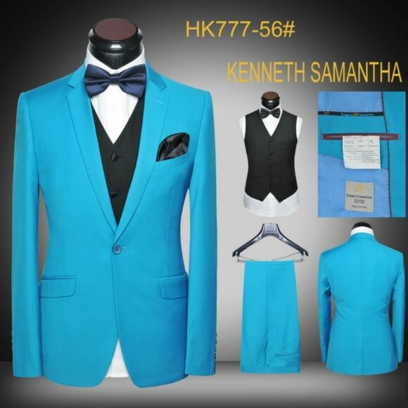 Latest Coat Pant Designs Turquoise Blue Tuxedo Jacket Prom Men Suit Slim Fit Groom Blazer Custom 3 Piece Suits Terno Masculino S