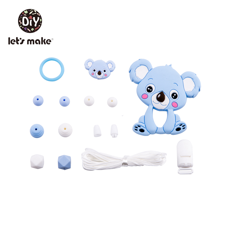 Lets Make Silicone Beads Cartoon Animals Teething Set Dog Baby Teether Tiny Rod BPA Free Food Grade Teethers