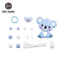 Lets Make Silicone Beads Cartoon Animals Teething Set Dog Baby Teether Tiny Rod BPA Free Food Grade Teethers