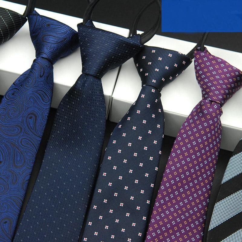 Neck Tie For Men Neckties 5.5cm Fashion Tie Accessories Easy To Draw Striped Ties Zipper Lazy Necktie Wedding Party LD8037