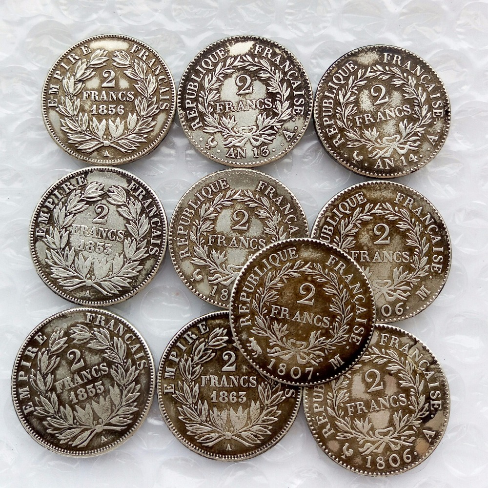 US $17 75 29% OFF|France Whole Set Mix dates (1806 1863) 10pcs Napoleon III  2 Francs Silver Coin Wholesale-in Non-currency Coins from Home & Garden on
