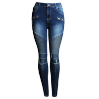 New Fashion Women Motorcycle Biker Jeans Zip Mid Waist Hole Stretch Denim Skinny Pants Washed Motor Jeans For Women Pencil Pants
