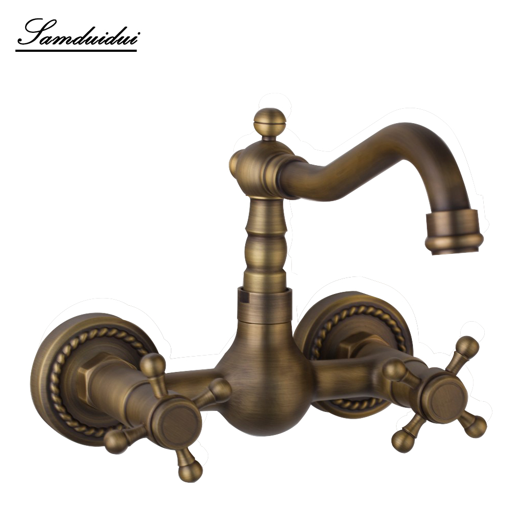 Bathroom Luxury swivel faucet antique brass finished basin faucet classic Decorative pattern wall mounted basin sink faucet free shipping high quality chrome finished brass in wall bathroom basin faucet brief sink faucet bf019