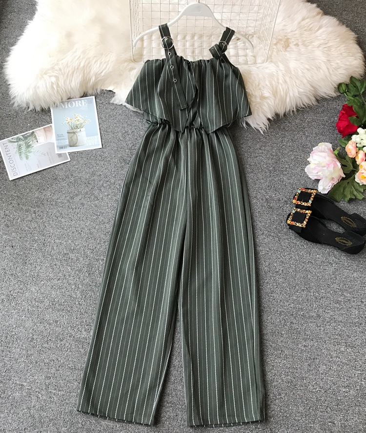 Korean High waist Broad legged Jumpsuits Women's Sleeveless Striped Summer Slim Rompers Bodysuits Overalls E184