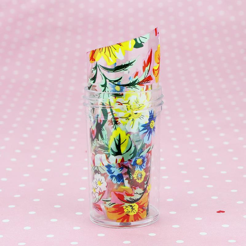 100cm*4cm Colorful Camellia Flowers Transfer Foil Nail Art Stickers DIY Decorations For Decals Nails Tools D03