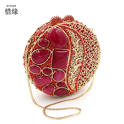XIYUAN BRAND women red aristocratic ruby crystal diamond evening dinner bag Luxury hollow out diamond bag bridal messenger bags
