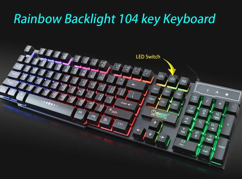 104 Key Waterproof Rainbow Backlit Slim LED Backlight Gaming Keyboard 104 Key Waterproof Rainbow Backlit Slim LED Backlight Gaming Keyboard HTB1tcT6SFXXXXcwXXXXq6xXFXXXW