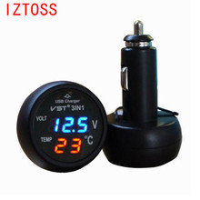 3 in 1 Digital LED Car Voltmeter Thermometer Auto Car USB Charger 12V/24V Temperature Meter Voltmeter Cigarette Lighter 3 types 3 digit blue led digital voltmeter meter module 3 3 17v
