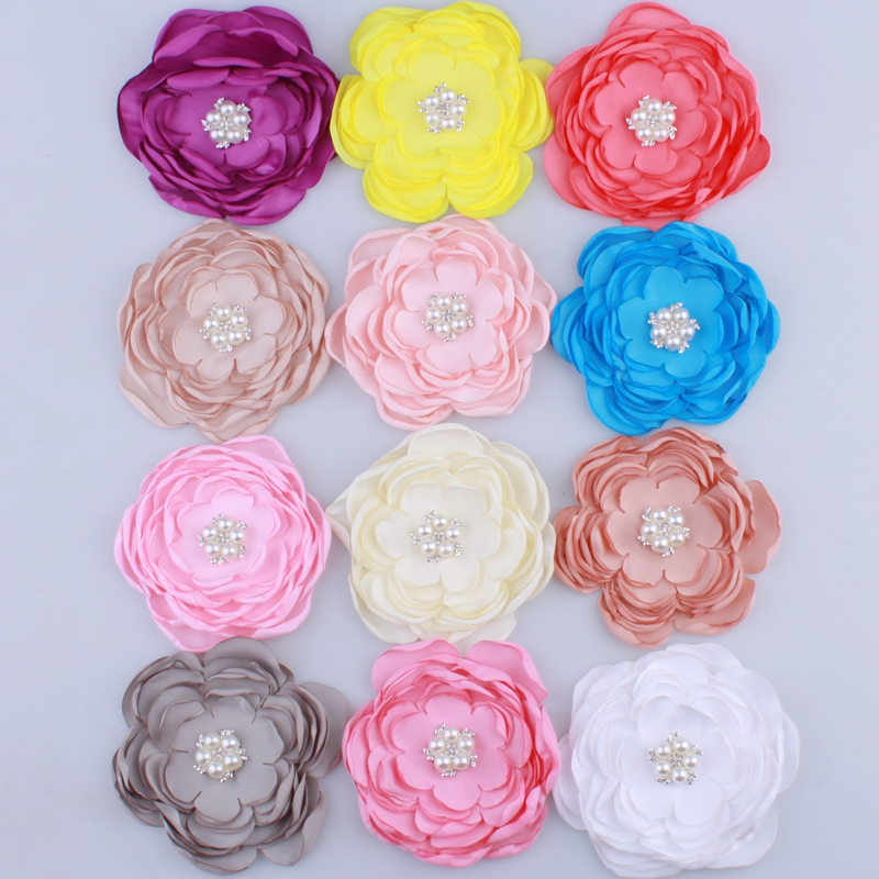 10PCS 9.2CM New Satin Fabric Burned Flowers With Rhinestone Pearl For Hair Accessories Chiffon Flower For Headbands Clothes