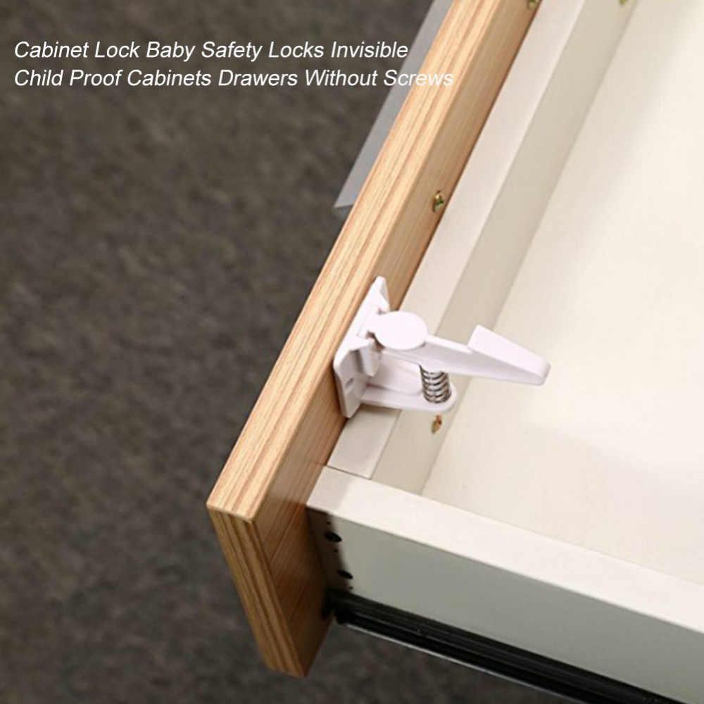 10PCS ล็อคความปลอดภัยพลาสติกเด็กล็อคประตูตู้ลิ้นชักเด็ก Care ล็อคความปลอดภัยที่มองไม่เห็น Proof ลิ้นชัก