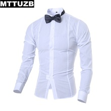 Men fashion cool slim wedding dress shirt man handsome long sleeve formale shirts male party costume business shirts MTTUZB
