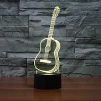 Illusion d'optique 3D LED veilleuse de guitare, veilleuse changeante de 7 couleurs, lumière de décor de pièce, lampe de bureau de Table