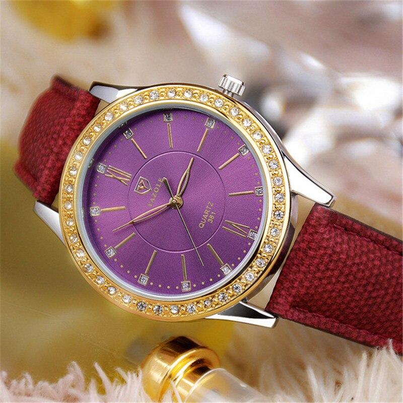 YAZOLE Frauen Armbanduhren Fashion Elegante Luxus Quarzuhr Frauen mit Künstliche Diamanten Damen Kleid Armbanduhren YD361