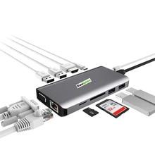 11 in 1 Type-C Hub Dock Station to 4K HD VGA Gigabit Ethernet SD TF Card Reader For Lenovo For MacBook Pro USB C Devices LX0801