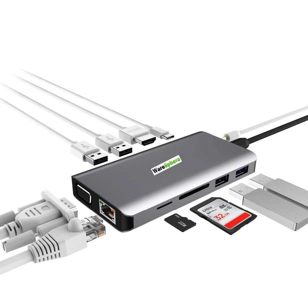 Station de quai de moyeu type-c 11 en 1 vers 4 K HD VGA Gigabit Ethernet lecteur de carte SD TF pour Lenovo pour les appareils MacBook Pro USB C LX0801