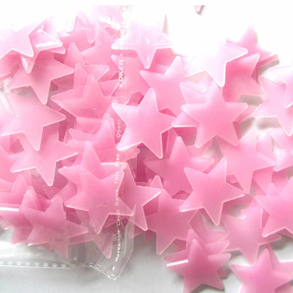 100 unids/lote estrella brillante pegatinas de pared calcomanía bebé niños dormitorio decoración del hogar Color estrellas luminosas fluorescentes azul Rosa calcomanías de pared