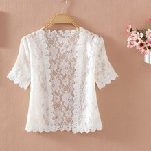 2019 New White Lace Summer Thin Cardigan Casual Short Sleeve Women Fashion Solid V-Neck Sweater Knit Cardigans