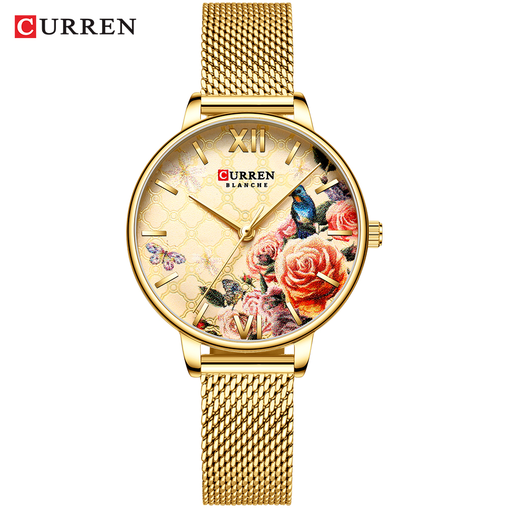 2019 Watch CURREN Gold Watches Women Charming Stainless Steel Bracelet Quartz Watch Ladies Classy Wristwatch Female Casual Clock