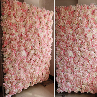 Hot Pink Flower backdrop Wedding Flower Wall Artifical Rose Stage Decoration 2.4M x 2.4M Home Decor