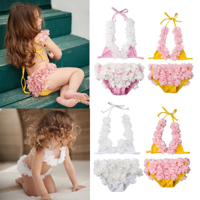 2019 New Toddler Kid Baby Girl 3D Flower Bikini Set Swimwear Swimsuit Halter Lace-up Crop Top Panties Bathing Swimming Suit 0-5T