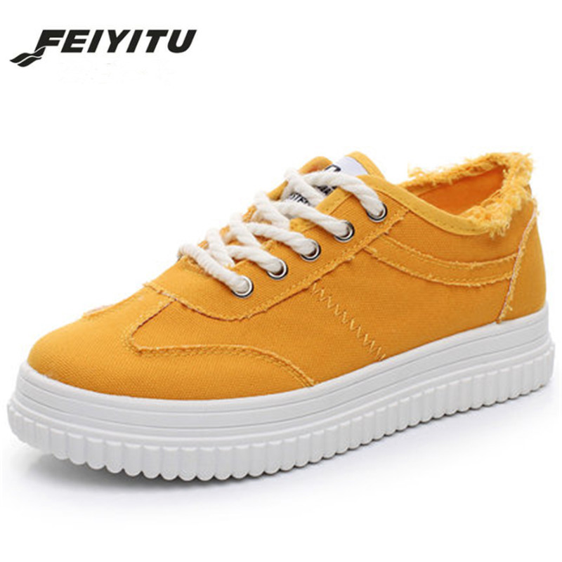 FeiYiTu Casual Cutouts Canvas Shoes Spring Summer Women Shoes Hollow star Breathable Platform Flat Shoes White Black Yellow women creepers shoes 2015 summer breathable white gauze hollow platform shoes women fashion sandals x525 50