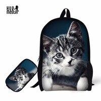 Cat Printing SchoolBag Backpack Pencil Case Learn Essentials Children School Bags+Pencil Box Mochila Escolar Mochila Perro Panda