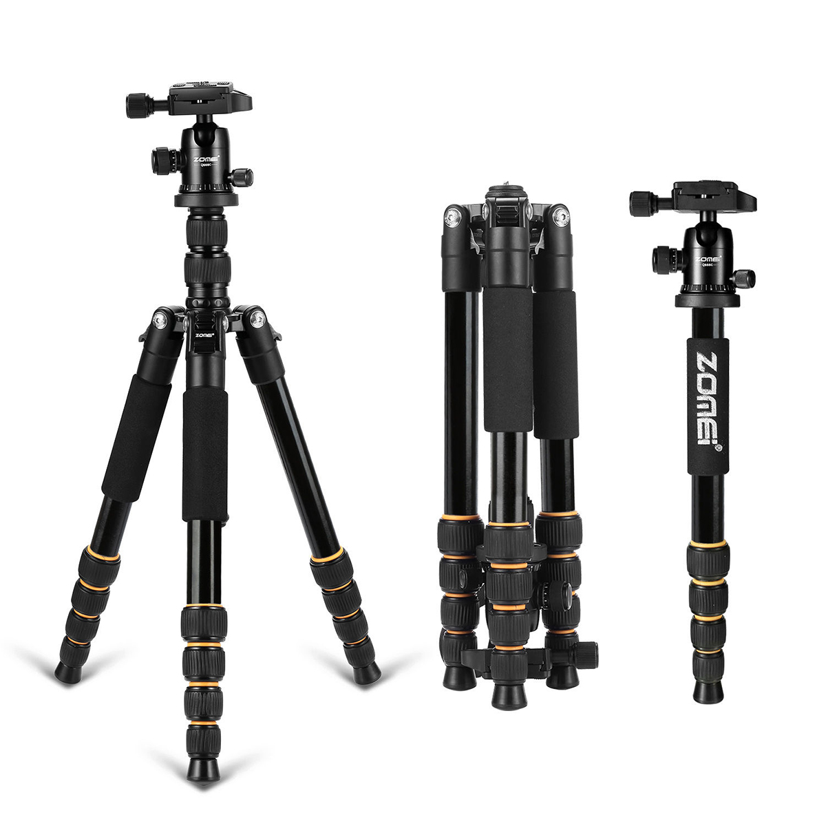 ZOMEI Q666 lightweight Portable Professional Travel Camera Tripod Monopod aluminum Ball Head compact for digital SLR DSLR camera zomei q666 professional tripod monopod with ball head compact travel tripods portable camera stand for slr dslr digital camera