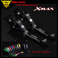 RiderJacky 1 Pair Full Black Logo X MAX Motorcycle Folding Extendable Brake Clutch Levers For Yamaha