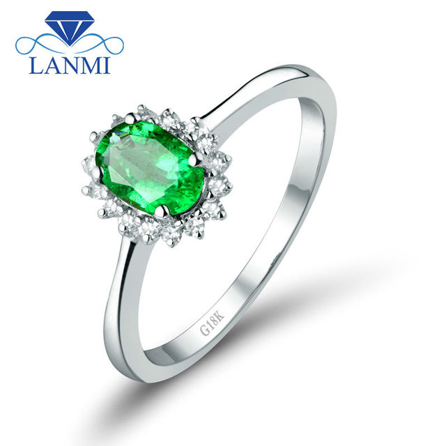 Natural Oval 4x6mm 18K White Gold Emerald Diamond Engagement Ring