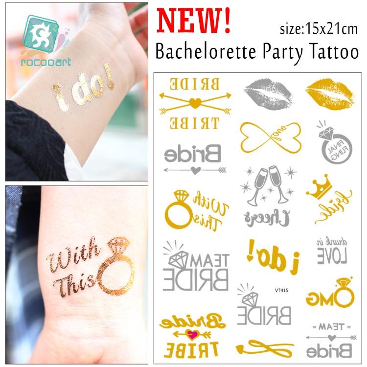 Gefälschte Tattoos Metallic Gold Brautjungfer Geschenk Professionelles Design DemüTigen Bachelorette Party Tattoos Gold Metallic Tattoos Team Braut Temporäre Tattoos
