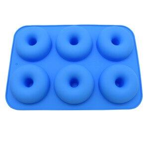 Image 2 - Силиконовая форма для выпечки пончиков, 6 полости, набор для выпечки ручной работы, инструменты для украшения тортов