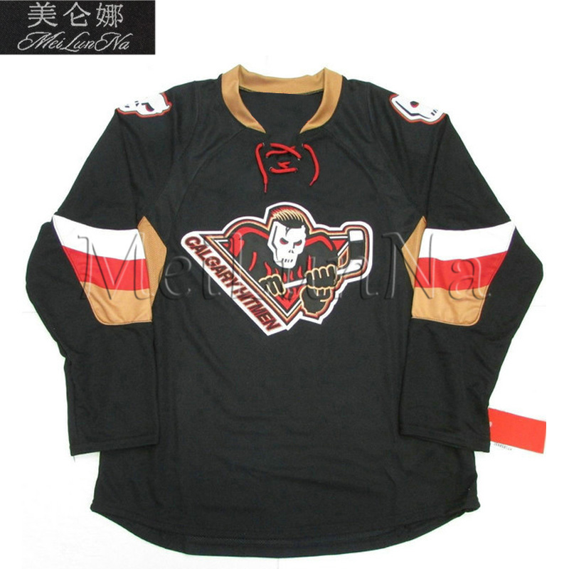 MeiLunNa Customize Calgary Hockey Hitmen Jerseys Ryan Getzlaf Bret Hitman Hart Home Road Third Sewn On
