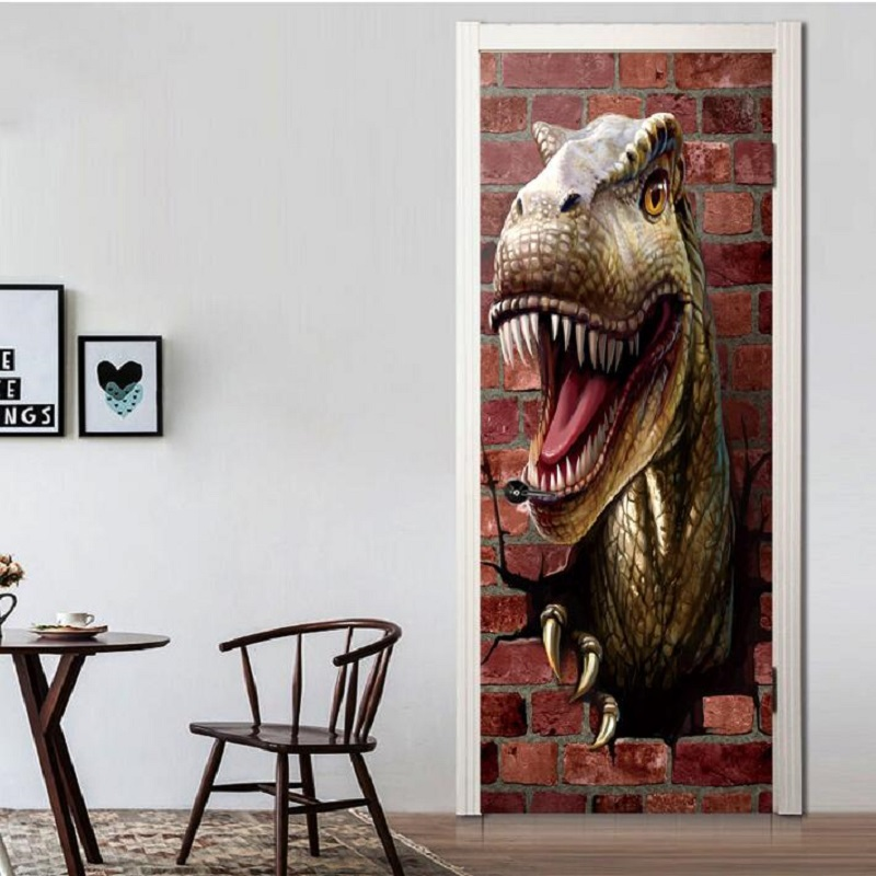 UBRUSH 38.5x200cm * 2 Stickers muraux PVC autocollants décoratifs porte dinosaure imperméable facile à nettoyer Sticker mural