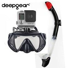 Deepgear Cámara buceo máscara de silicona negro máscara de buceo con snorkel seca una ventana templado buceo máscara gopro