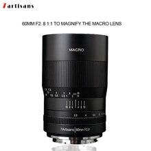 7artisans 60 мм f2. Макрообъектив с увеличением 8 1:1 подходит для Canon EOSM EOSR E Fuji M43 nikon z Mount