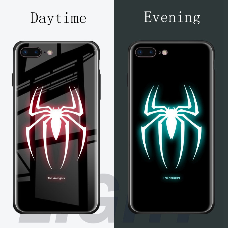 For iphone 7 Marvel Luminous Glass Phone Case For iphone 6 s 6s 7 ...