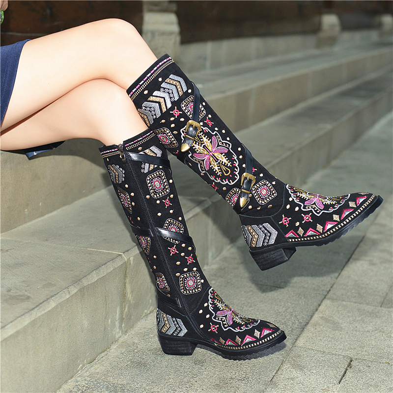 Chaussures Haute Cuir Femmes Bas À Talons Boucle E45 Nouveau Chevalier Broderie Véritable Floral De En Genou Bottes Ethnique 8wPkXn0O