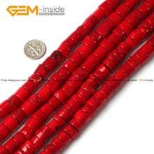 Драгоценный камень-внутри 12 мм окрашенная цветная трубка цилиндрическая колонна красные коралловые бусины для изготовления ювелирных изделий 15 дюймов DIY Ювелирная нить 15 дюймов