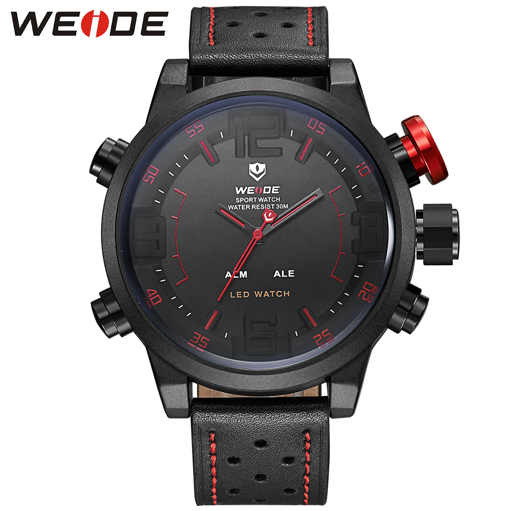 WEIDE Famous Brand Sports Watch Men Digital Resistant Japan Quartz Alarm Dual Time Leather Strap Relogio Masculino Sale Items brand weide fashion casual men watch black silicone strap 3atm waterproof dual display wristwatch relogio masculino sale items