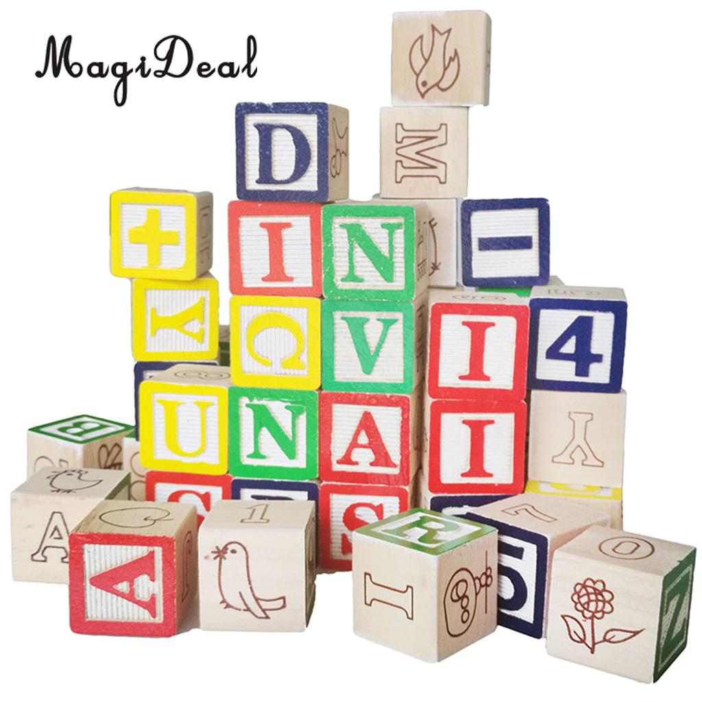 Children 50 Pieces Colorful Printed Wooden A~Z Letters Numbers Cube Blocks Stacking Game Kids Developmental Cognitive Toy цены