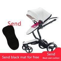 Высокое качество экспорта кожа детские коляски Белый Марка Детские автомобиля свет складной четыре колеса коляски Foofoo